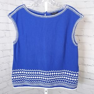 BR Women's Blue White Embroidered Sleeveless Top S